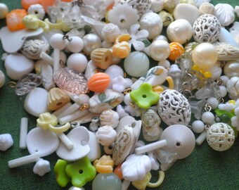 Vintage Bead Destash White Orange Yellow Green Glass / Plastic / Lucite / Metal Beads - Retro Mid Century Beading Lot Jewelry Making Supply