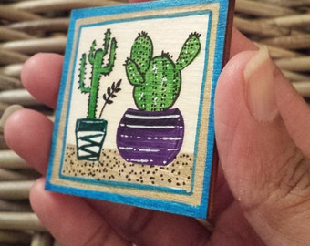 Succulent magnet, hand painted refrigerator magnet wooden, kitchen decor, house warming gift
