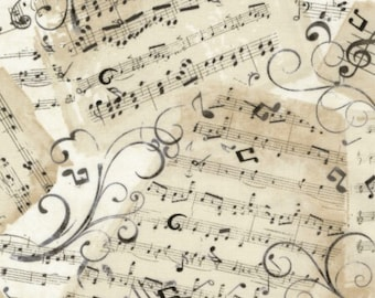 Music Sheets Fabric, Music Notes, Music Fabric, By the Yard, Cotton, Timeless Treasures, Vintage Style, TheFabricEdge