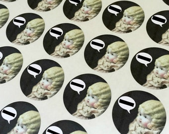 "Adventures of Claudia Round Stickers 1.5"" Seals Censorship Profanity China Doll Labels"