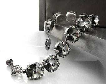 Swarovski Crystal Black Diamond Rhinestone Bracelet - 12mm Swarovski Crystal Round Rivoli Crystal Tennis Bracelet, Wedding Bridal Jewelry