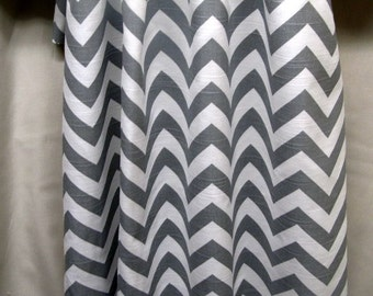 "PAIR gray and white chevron Drapery Panels 84"" long"
