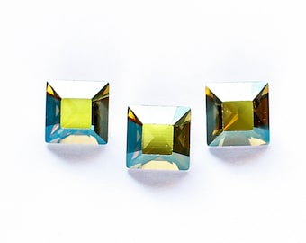 8mm IRIDESCENT GREEN Swarovski Xilion Square Fancy Stones Article 4428