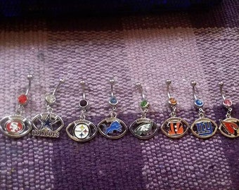 Football Belly Button Ring- All teams available