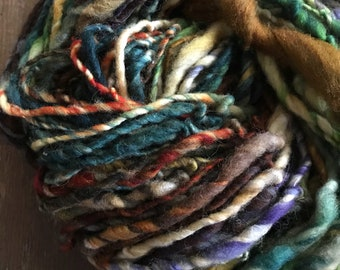 Eye of the Tiger - handspun bulky yarn, 110 yards, bulky yarn, rustic art yarn, chunky yarn, wool handspun yarn