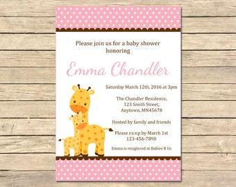 Pink Giraffe Baby Shower Invitation, Pink Giraffe Shower Invite, Pink Giraffe Baby Shower, Girl Printable Invite, DIY Invite Download, 005-P