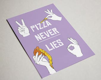 Cards about Carbs - postcard - fries over guys / pizza never lies