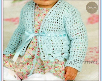 Instant Download - PDF Crochet Pattern for a Baby Girls/ Girls Lacy Cardigan 16-26""
