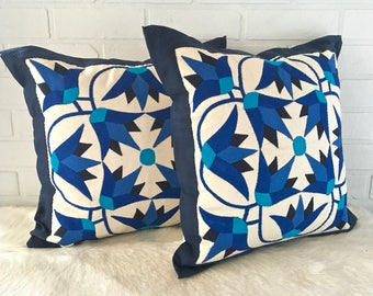 "Gorgeous set of 2 hand made 16.5""x16.5"" folk style pillow covers made from 100% cotton applique quilting natural Scandi hygge bogo Gypsy"