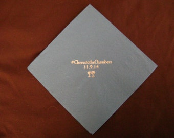 Personalized Beverage Napkins in Cheltenham Narrow Font, 25 50 100 or more Custom Foil Stamped Party Napkins Wedding Favors Bridal Shower #