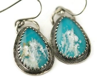 Plume Agate Turquoise Sterling Earrings - Regency Plume Agate Doublet Earrings - Statement Earrings