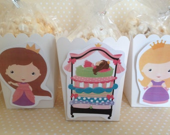 Princess and the Pea, Fairy Tale Party Popcorn or Favor Boxes - Set of 10
