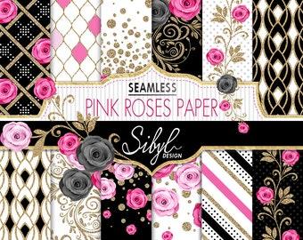 60% OFF SALE, Floral Digital Paper, Pink Roses Seamless Pattern, Digital Wedding Roses Paper, Pink Flowers Pattern, Glitter Floral Paper