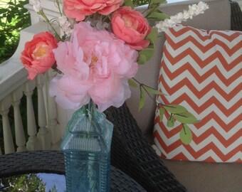 Shabby Chic flower arrangement, farm house flowers, mantel decor, vintage bottle, pink peony flower, silk flower arrangement, silk flowers,