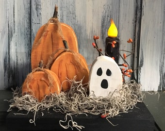 Fall Pumpkin Shelf Sitter w/Ghost and Candle