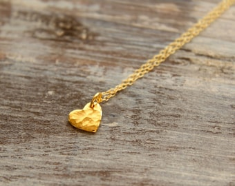 Little Hammered Heart Necklace in Gold Vermeil and Gold Filled