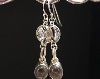 Smoky Topaz Dangling Earrings; Topaz Earrings; Topaz Gemstone Earrings; Topaz Drop Earrings; Smoky Topaz Jewelry; black gemstone earrings