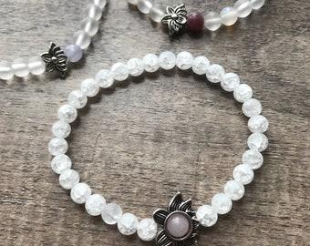 Clear Quartz and Rose Quartz Lotus Wellness Bracelet