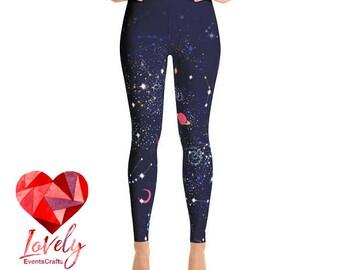Space Yoga Leggings, Printed Leggings, Galaxy Print Yoga Leggings, Womens Leggings, Yoga Leggings, Workout Leggings,  Fashion Leggings