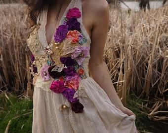 Shabby chic romantic lace dress Bohemian hand beaded dress Altered couture feminine dress Fairy wedding dress Tatered couture lace dress
