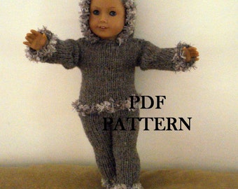 """Knit Hoodie and Pants PDF Pattern for American Girl Doll 18"""" Doll Knit  Pattern Pants"""