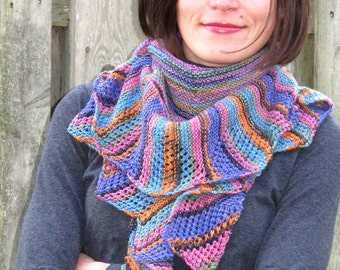 Chelsea, 2 Crescent Shaped Shawls with Lace Edging PDF knitting pattern