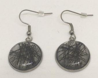 Horse hair, horsehair, resin, resin earrings earrings