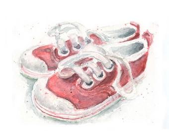 Watercolor Red Sneakers, Red Sneakers Print, Kids Sneakers Print