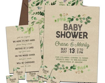 Greenery Baby Shower Invitation Suite for Couples or Single.Printable or Printed. Forest, Leaves, Green, Kraft