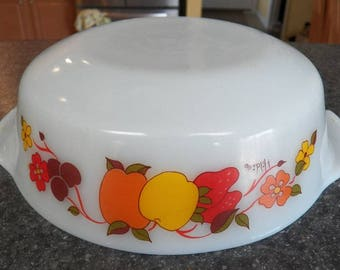 Vintage HILDI Fruit Milk Glass Casserole Dish/Bowl ANCHOR-HOCKING A-H