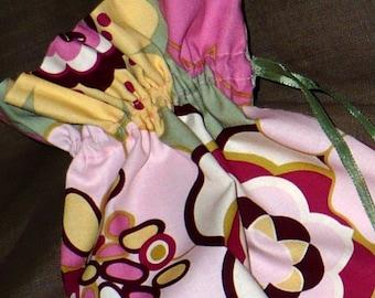 Shoe Bags, Boho, pink, sage, yellow, flowers, travel, set of 2, drawstring bags, lingerie