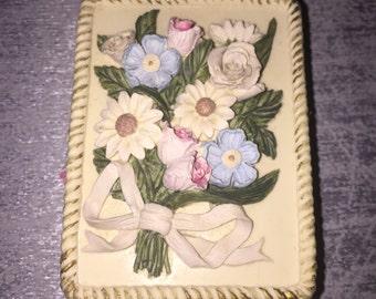 Vintage Ceramic Flower Jewelry Trinket Box Hand Painted by Dezine / Floral Trinket box / Jewellery storage / Dressing table