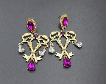 Bohemian Vintage Keys chandelier earrings