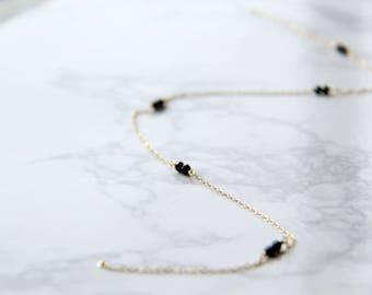 14k gold filled black crystals necklace