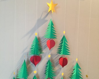 Ten 3/d tree, six 3/d heart one three dimensional Christmas Mobile