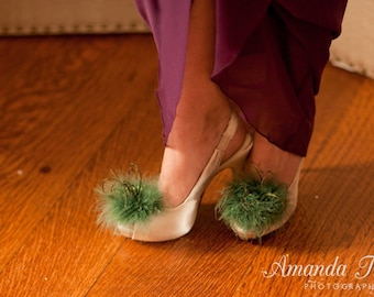 Asparagus Green Feathered Shoe Clips  More Colors Available