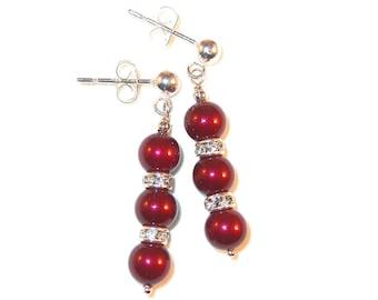 BORDEAUX RED Pearl Earrings Bridal Swarovski Crystal Elements Sterling Silver Dangle