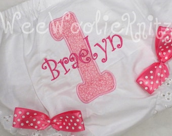 Girls Birthday Bloomers Appliqued Personalized Photo Prop 1st 2nd 3rd 4th Any Number Toddler
