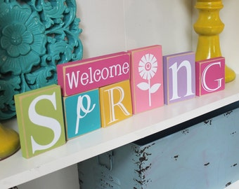 Spring Blocks- Spring Decor, Spring Wood Blocks, Spring Home Decor, Welcome Spring, Seasonal Wood Blocks
