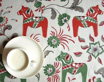Tablecloth grey beige green red Swedish Dala horses Scandinavian Design , napkins , runner , pillow covers , curtains available, great GIFT