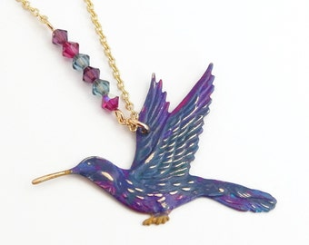 Enola - vintage brass hummingbird necklace created with Swarovski® crystals - bird necklace - hummingbird jewelry