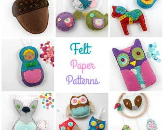 Felt Paper Patterns. Hand Sewing. Owl. Fox. Nesting Doll. Hand Stitched. Pattern. Gift. Sewing Patterns. Craft Kit Gifts. Christmas Gift.