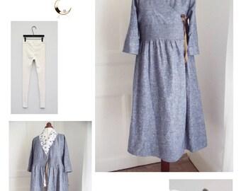 High waist linen wrap dress