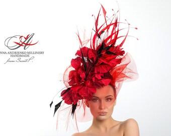 Red and Black Wide Brim Fascinator Feathers Hat. Audrey Hepburn Kentucky Derby Hat. Church Hat, Wedding Hat, Women's summer hat, Formal Hat