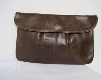 Vintage Brown Leather Clutch Bag Leather Handbag Unlined Clutch Dark Brown