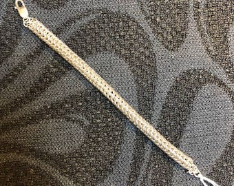 Round Chain Mail Sterling Silver Bracelet