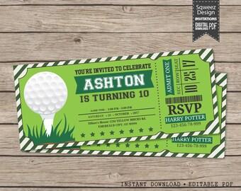 Golf Invitations, Golf Birthday Invitations, Golf Ticket, Golf Party Invitations  - Instant Download Editable PDF