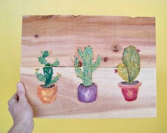 Cactus Oil Painting on Repurposed Wood