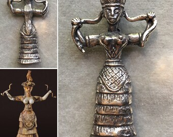 MINOAN SNAKE GODDESS Pendant / Serpent Priestess /silver tone fine pewter / dark goddess wild woman / ancient divine feminine power