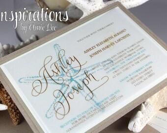Wedding Invitations, Beach Wedding, Starfish Invitations, Invitations
